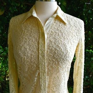 Lucky Brand cream color lace sheer button down top